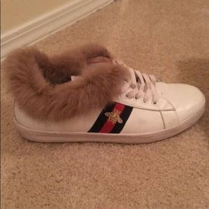 43453ae0ed6 Gucci Shoes - White Gucci Ace Bee Fur Sneakers 10 or 10.5